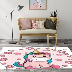 Kids Unicorn Stars Flowers Rugs And Carpets