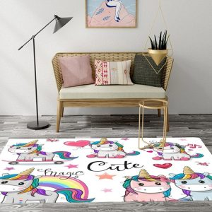Cartoon Unicorn Rugs And Carpets For Kids