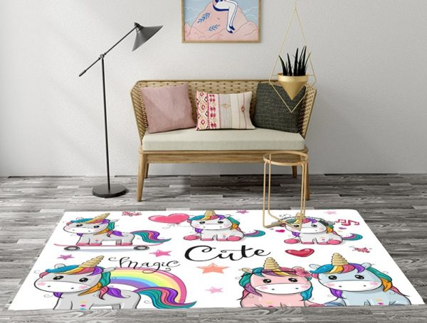 Cartoon Unicorn Rugs And Carpets For Kids