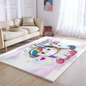 Cute Rainbow Unicorn Carpet For Kids Room