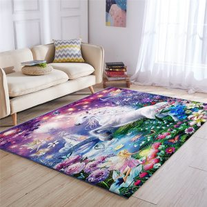 Cute Rainbow Unicorn Carpet For Kids Room