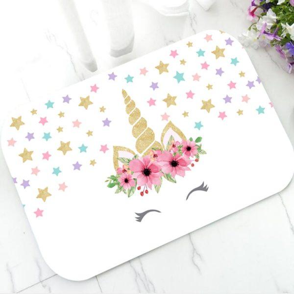 Trendy Pastel Rainbow Magical Unicorn Bathroom Mats