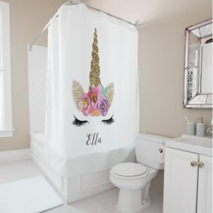 Personalized Dreaming Unicorn Shower Curtain