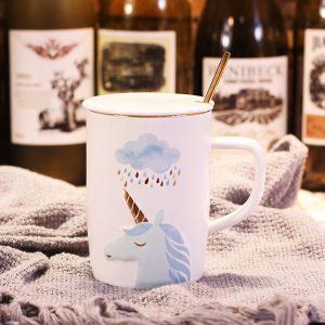 Unicorn Ceramic Mug With Golden Spoon