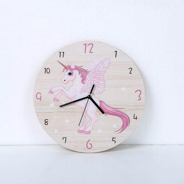 Pink Unicorn Wall Clock For Girls Room
