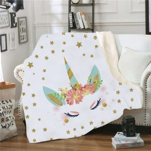 Soft Cozy Unicorn Velvet Throw Blankets