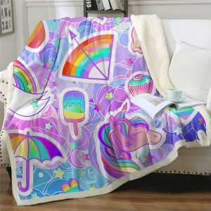 Ice Cream Unicorn Throw Fleece Blanket