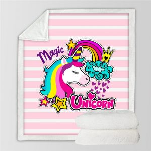 Sweet Dream Rainbow Unicorn Throw Blanket for Kids