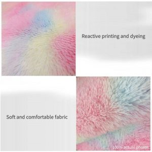 Rainbow Fluffy Tie-dye Rug For Bedroom
