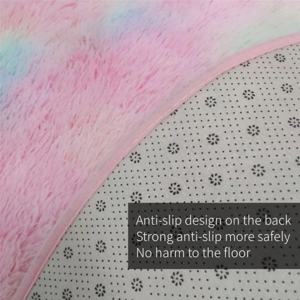 Rainbow Tie-dye Fluffy Round Rug