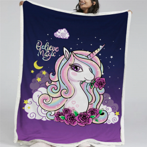 Magical Unicorn Throw Fleece Blanket