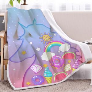 Rainbow Unicorn Throw Fleece Blanket For Kids And Girls