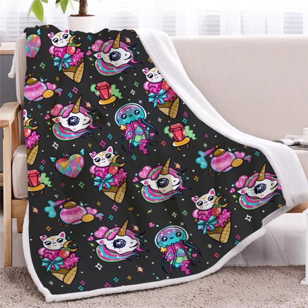 Colorful Unicorn Fleece Throw Blanket For Kids Bedroom