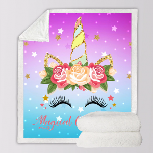 Sparkling Unicorn Eyelashes Sherpa Throw Fleece Blanket