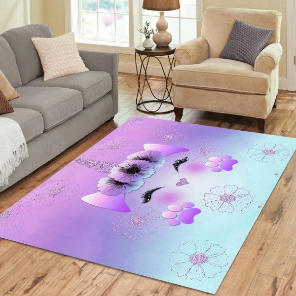 Purple Fantasy Unicorn Rug for Living Room