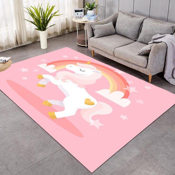 Pink Unicorn Rug For Girls Room