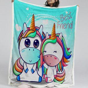 Best Friend Unicorn Sherpa Fleece Blanket