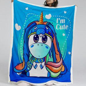 Blue Unicorn Sherpa Fleece Blanket