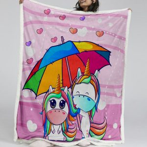 Rainbow Kids Unicorn Sherpa Fleece Blanket