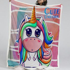 Cute Kids Unicorn Sherpa Fleece Blanket