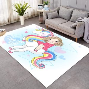 Unicorn And Girl Large Area Rug