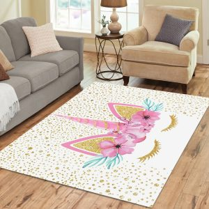 Yellow Spot Unicorn Large Rug for Kids Room