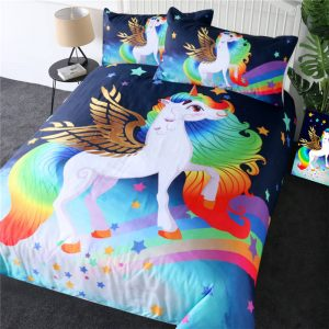Rainbow Stars Fantasy Unicorn Bedding Set For Kid Bedroom