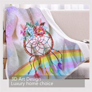 Dream Catcher Unicorn Rainbow Fleece Throw Blanket