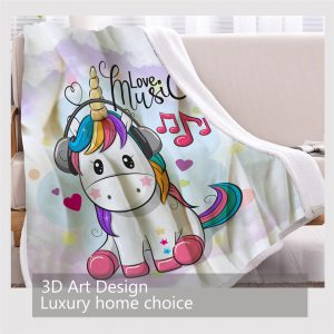 Cute Unicorn Soft Fluffy Blanket