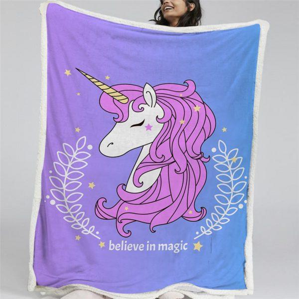 Cute Unicorn Sherpa Fleece Blanket