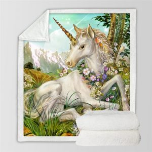 3d Unicorn Sherpa Blanket For Bed Kids And Girl