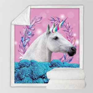 Pink Unicorn Fleece Throw Blanket For Kids
