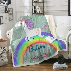 Believe Miracles Unicorn Plush Throw Blanket on Sofa Bed for Kids