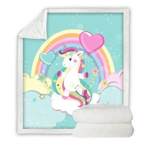 Rainbow Unicorn Bed Fleece Blanket