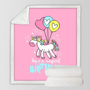 Unicorn Kids Pink Fleece Blanket