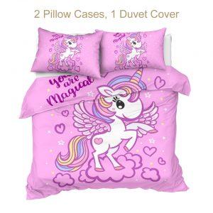 Unicorn Pink Kids Duvet Cover Bedding Set