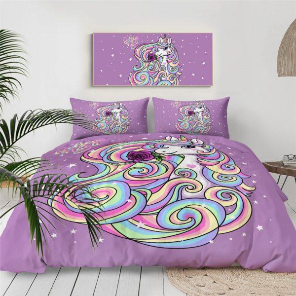 Unicorn Girly Bedding Set For Girls