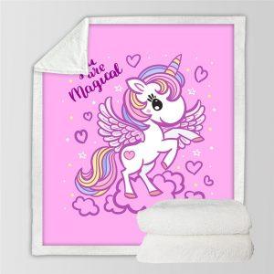 Pink Unicorn Girly Blanket For Kids
