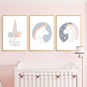 Floral Unicorn Wall Art Canvas Painting Posters