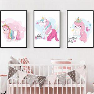 Unicorn Cartoon Wall Art Canvas Posters