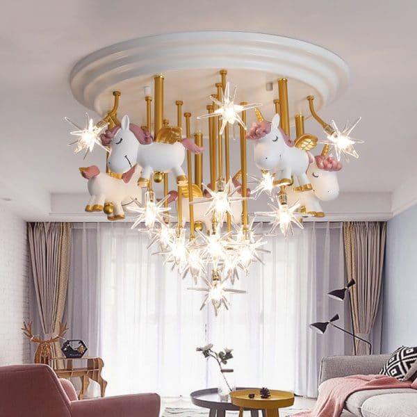 Unicorn Ceiling Chandelier Children Bedroom