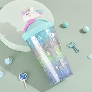 Unicorn Glitter Water Bottle with Straw