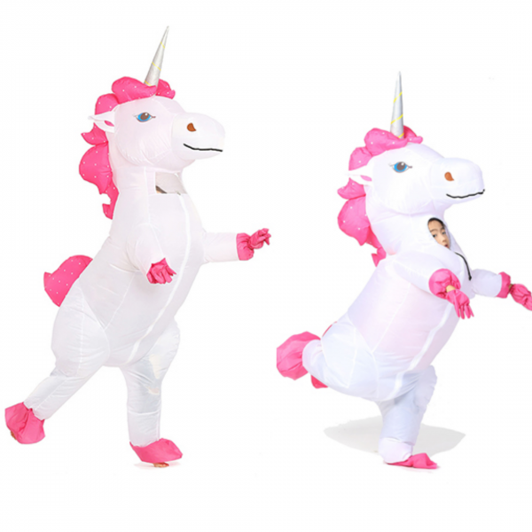 white inflatable unicorn costume