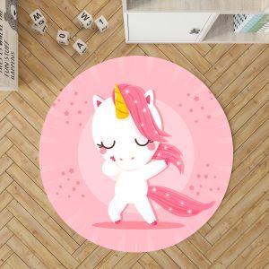 Unicorn Round Carpet For Bedroom