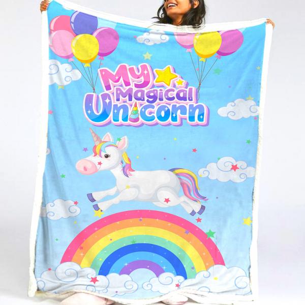 Sky Rainbow Unicorn Fleece Blanket