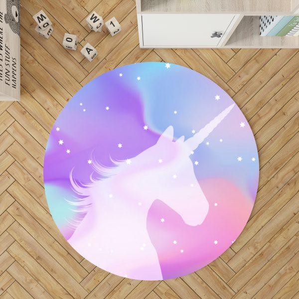 Pastel Unicorn Round Rug For Girls