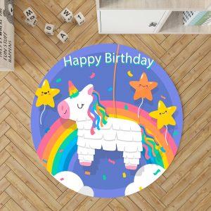 Rainbow Birthday Unicorn Round Rug For Girls