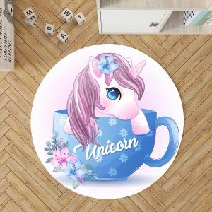 Adorable Unicorn Round Rug