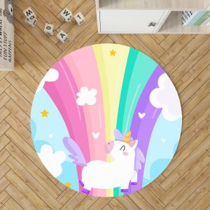 Rainbow Unicorn Round Area Rug