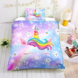 Twin Purple Unicorn Bedding Set, Unicorn Bed Set, Unicorn Bed In A Bag